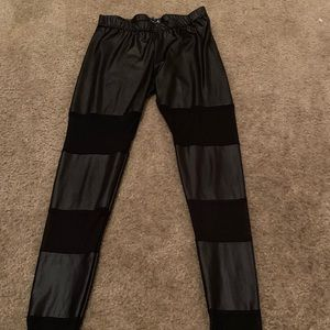 Mesh and faux leather leggings